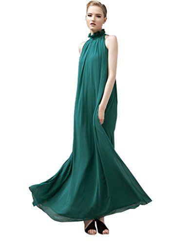 Minetome Damen ärmellos Maxikleid Chiffon Kleid Strandkleid unifarben Festtagskleid Stehkragen schulterfrei Lang in 8 Farben