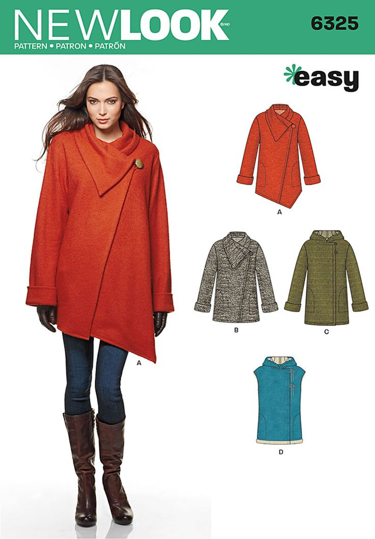 Misses' easy coat can be made with a hood or with a shawl collar and asymmetric front in two lengths. Pattern also includes hooded vest. All feature side pockets. New Look sewing pattern 6325.