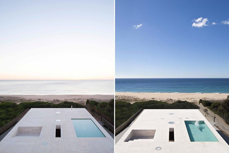 In Cádiz Alberto Campo Baeza have built an infinite plane facing the Atlantic Ocean, a house that emerges from the sand as a stone platform.
