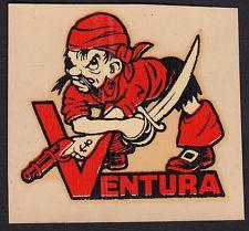 Ventura Junior College RARE ORIG 40's Decal VTG VJC Pirates California Buccaneer