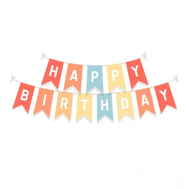 Cute Bunting Flags With Letters Happy Birthday Isolated On White Background Anniversary Art Background Png And Vector With Transparent Background For Free Do Spanduk Background Ulang Tahun Kartu Ulang Tahun