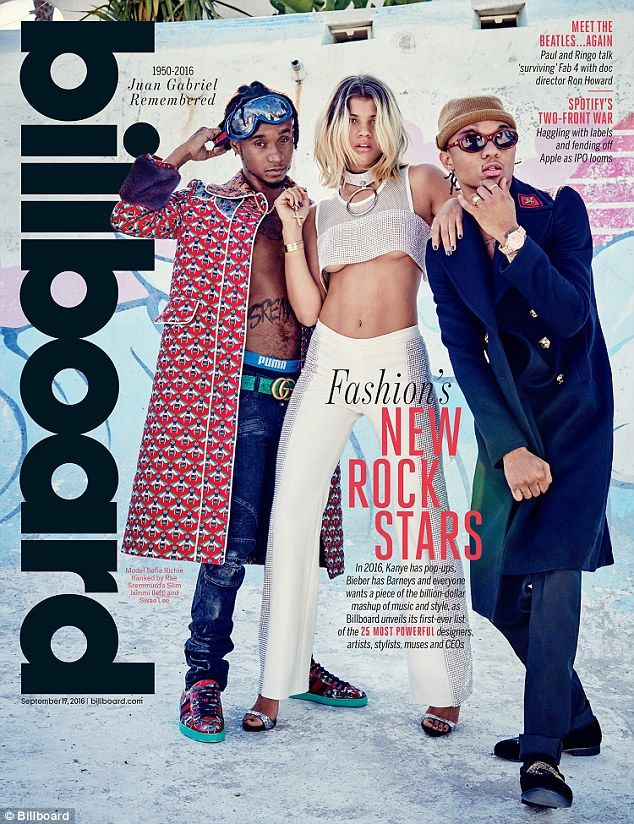 "Cover girl: Sofia Richie graces the cover of Billboard's Style Issue along with Rae Sremmurd's Khalif ""Swae Lee"" Brown (R) and Aaquil ""Slim Jimmi"" Brown"