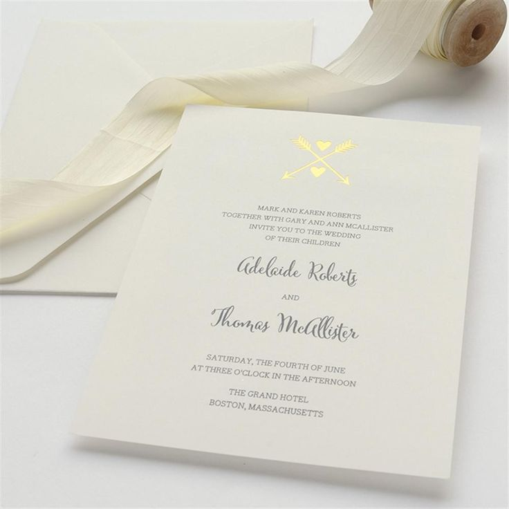 Gold Foil Heart u0026 Arrow Wedding Invitation
