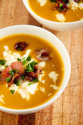 Smooth Vegetable soup with Bacon & Feta Cheese from Simply Delicious