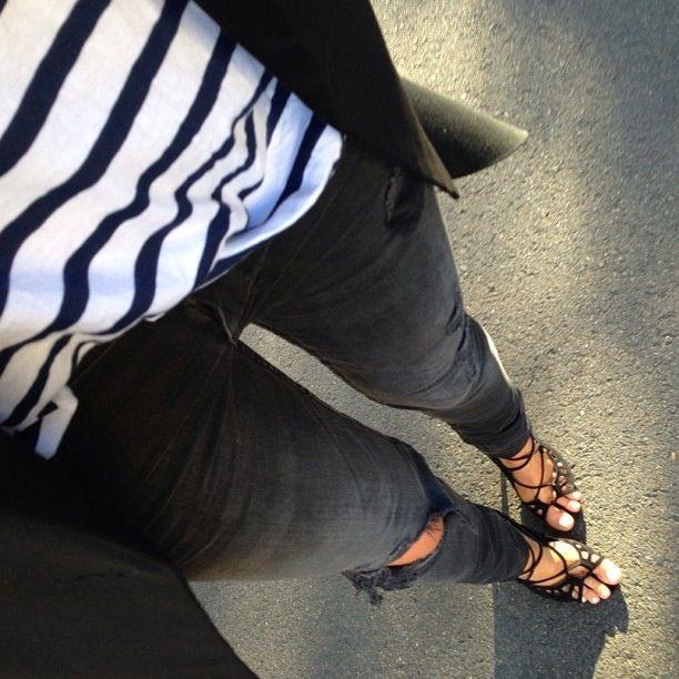 Strappy platform sandals.