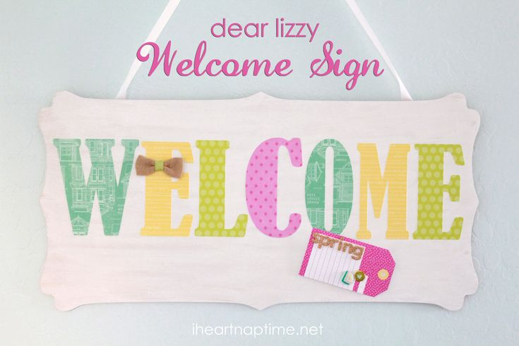 Dear Lizzy Welcome Sign | I Heart Nap Time