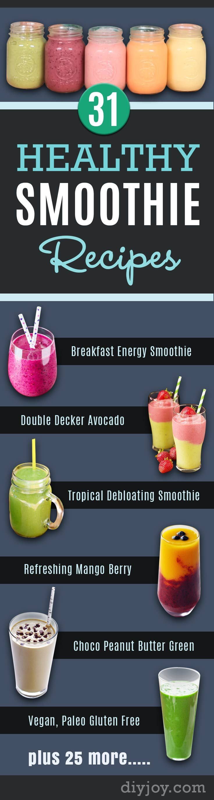 Healthy Smoothie Recipes - Best Smoothies for Breakfast, Lunch, Dinner and Snack. LowFat and Hi Protein Mixes #smoothie