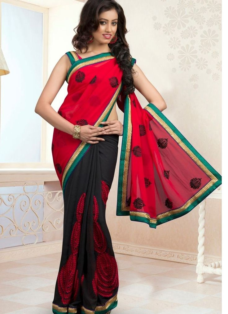 Stay Ahead In Trend With This Black & Crimson Chiffon Saree. The Ethnic Multi,Patch Work,Resham Work On The Clothing Adds A Sign Of Splendor Statement To Your Look.