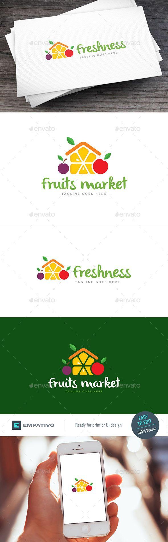 Fruits Market Logo Template Vector EPS, AI Illustrator