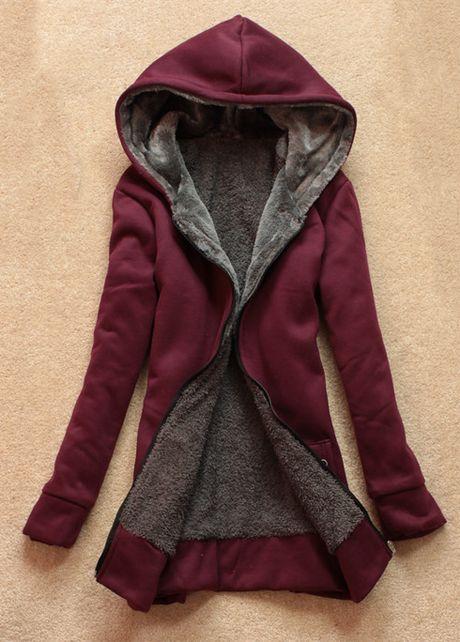 Charming Wine Red Zipper Closure Long Sleeve Coat
