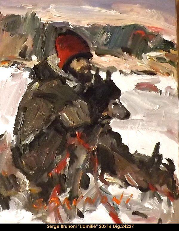 Original acrylic painting on canevas By Serge Brunoni new BOOK available october 19,2014 #sergebrunoni #art #artist #canadianartist #quebecartist #originalpainting #fineart #figurativeart #acrylicpainting #winterscene #hunters #dog #balcondart #multiartltee