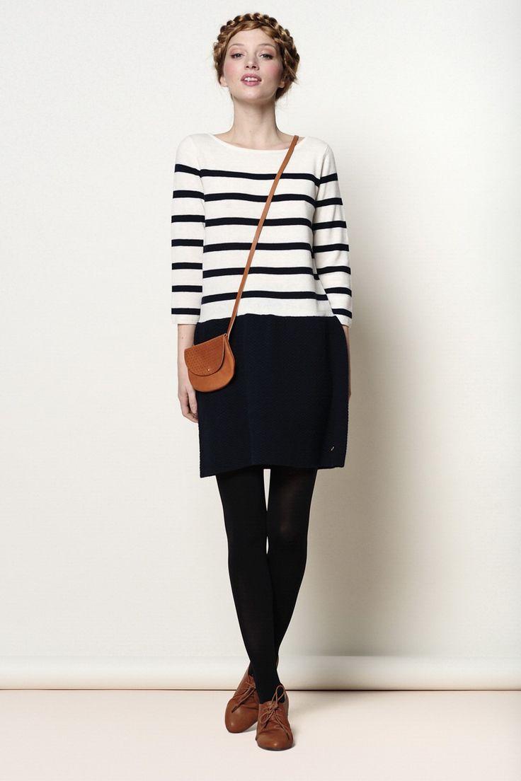 Black and white shirt (striped shirt), black shirt, black tights, brown  shoes, brown bag