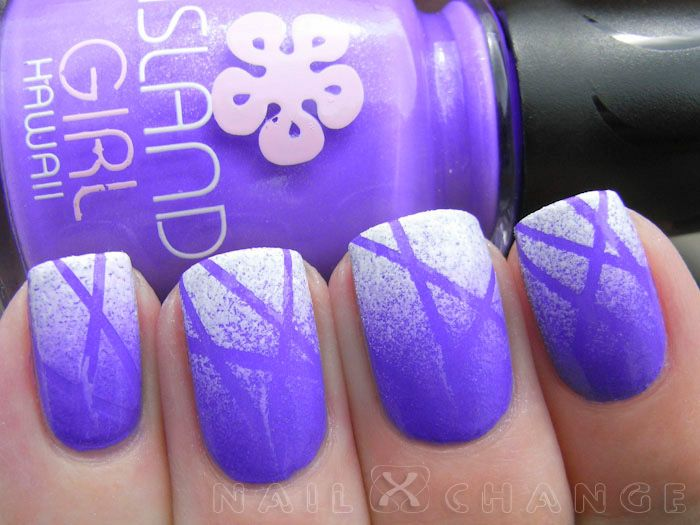Sponge and tape purple and white nail art