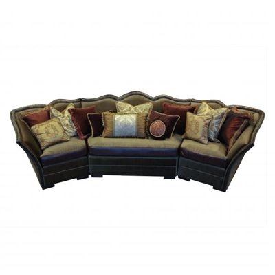Marvelous Cedric Fabric U0026 Leather Old World Style Sectional Sofa
