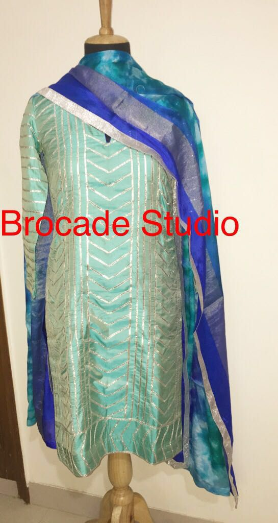 Gotta embroidery on silk paired with pure batik dupatta www.facebook.com/brocadestudio