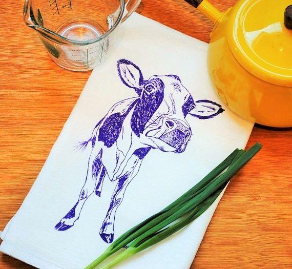 Purple Cow Cotton Kitchen Towels  Absorbent Eco Friendly #etsy #kitchentowel #teatowel  #towel #handtowels #floursack #dishcloth #dishtowels #shopoholics #shoppingday #kitchen #kitchenideas