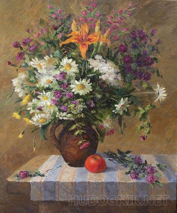 Полевые цветы Натюрморт с букетом полевых цветов и лилией. Подрамник глухой, без клиньев.