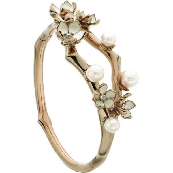 SHAUN LEANE Cherry Blossom rose-gold vermeil, ivory enamel, pearl and... ($1,690) ❤ liked on Polyvore featuring jewelry, bracelets, rings, earrings, vermeil jewelry, pearl jewelry, diamond bangles, cuff bangle and rose jewellery