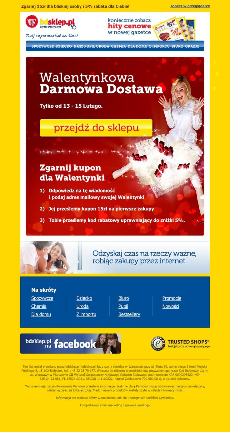 Newsletter Walentynkowy bdsklep.pl. Bardzo dobre wyniki wysyłki.