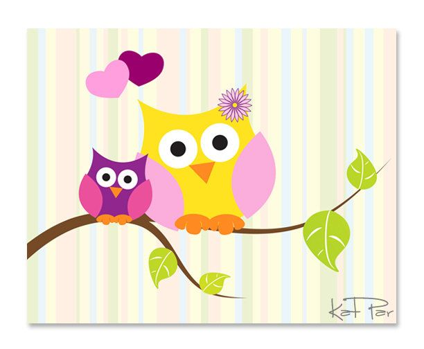 "owl wall mural baby | Baby Owl, Owls on a Tree, Striped Background, 10x8"" Baby Nursery wall ..."