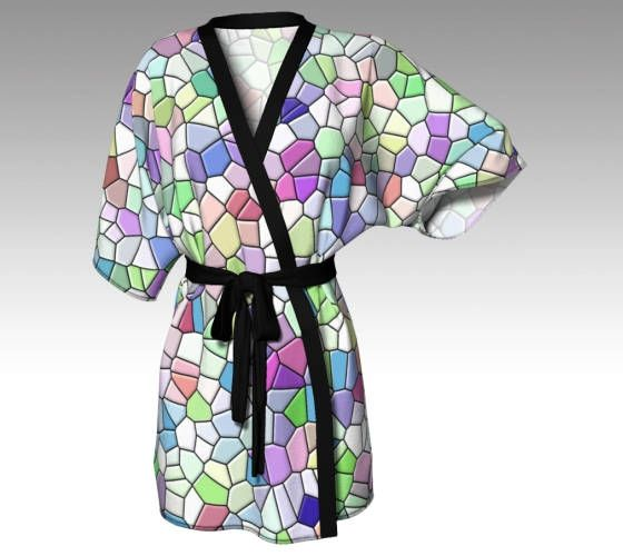 Mosaic Robe, Pastel Robe, Pastel Kimono, Dressing Gown, Rainbow Robe, Beach Coverup, Bridesmaid Robe, Lounge Wear, Swimsuit Coverup, Gift by LaineyDesigns on Etsy