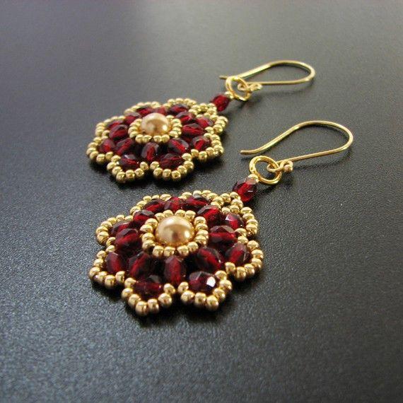 beadweaving--earrings, pearls, czech fire polished beads, seed beads