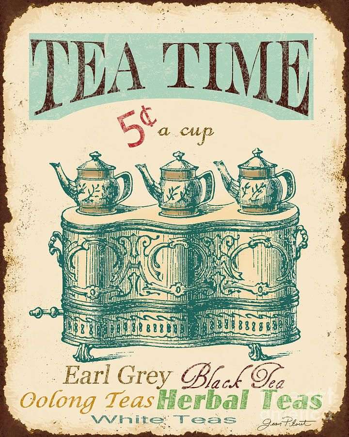 Vintage Tea Time Sign Digital Art by Jean Plout