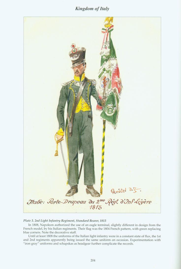 Kingdom of Italy: Plate 3: 2nd Light Infantry Regiment, Standard Bearer, 1813
