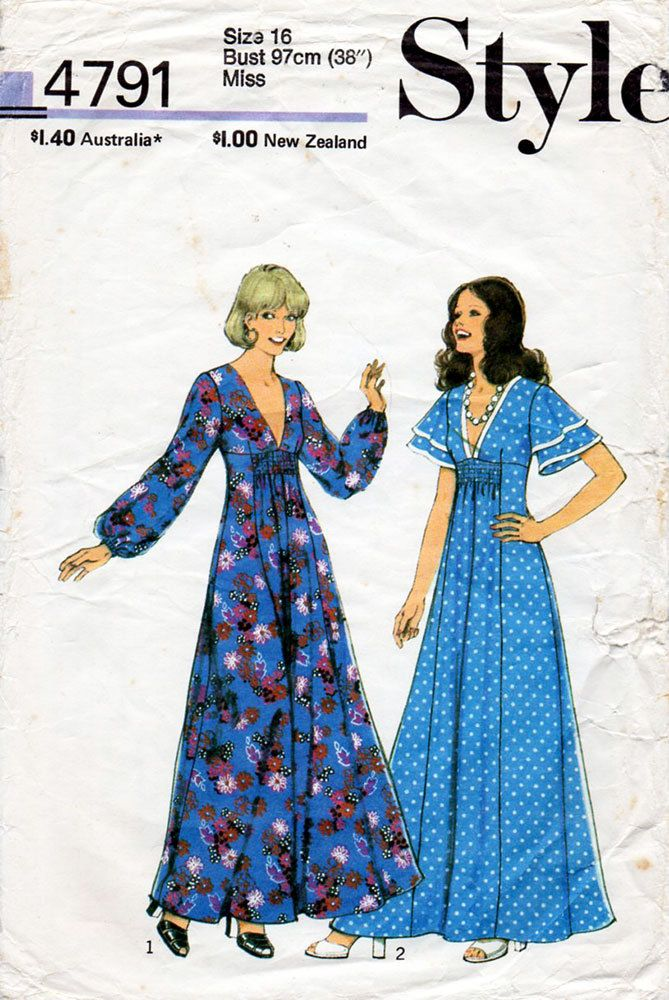 1970s Flared Maxi Dress Pattern Style 4791 Vintage Sewing