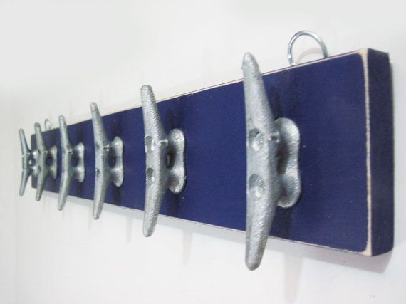 Boat Cleat Plank Rack Navy Blue by ProjectCottage on Etsy, $45.00