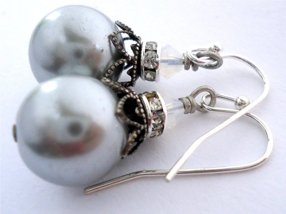 Touch of Class in silver silver glass pearl by floretteboutique, $18.00