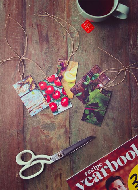 DIY: Eat Drink Chic - tags from recycled magazine/book/calendar pages