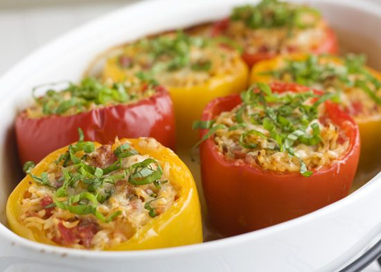 Orzo-stuffed Bell Peppers. I discovered that Seb likes bell peppers. And I'm trying to find healthy dinner options. This has potential.