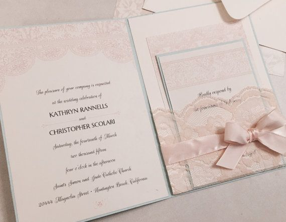 Vintage Shabby Chic Antique Blue, Pink Blush Und Elfenbein Hochzeit  Einladung Set   100 + Farboptionen Zur Verfügung