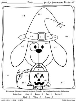 Practice fine motor skills while having fun.... Spooky Subtraction ~ Math Printables Color By The Code Puzzles To Practice Basic Subtraction Facts. ~This Unit Is Aligned To The CCSS. Each Page Has The Specific CCSS Listed.~ This set includes 6 Halloween themed math puzzles to practice basic subtraction facts. CCSS: 1.OA.6 ; 2.OA.2 ; 3.NBT.2 Set also includes 6 answer keys for the 6 puzzles. $