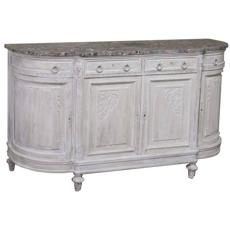 Hand-Crafted Country French Neoclassical Marble Top Buffet with Painted Finish