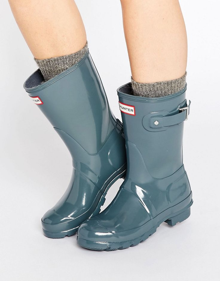 Get this Hunter's wellies now! Click for more details. Worldwide shipping. Hunter  Original Short Gloss Wellington Boot - Grey: Shoes by Hunter, ...
