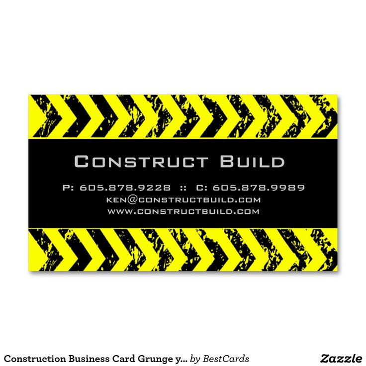 Construction Business Card Grunge yellow black