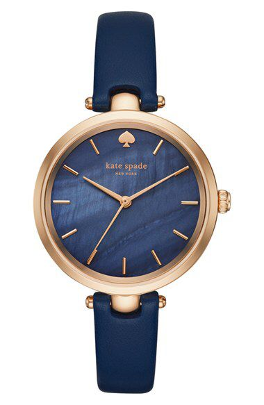 kate spade new york kate spade new york 'holland' round leather strap watch, 34mm available at #Nordstrom