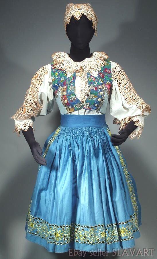 ANTIQUE Slovak Folk Costume hand-embroidered kroj blouse bonnet skirt apron vest