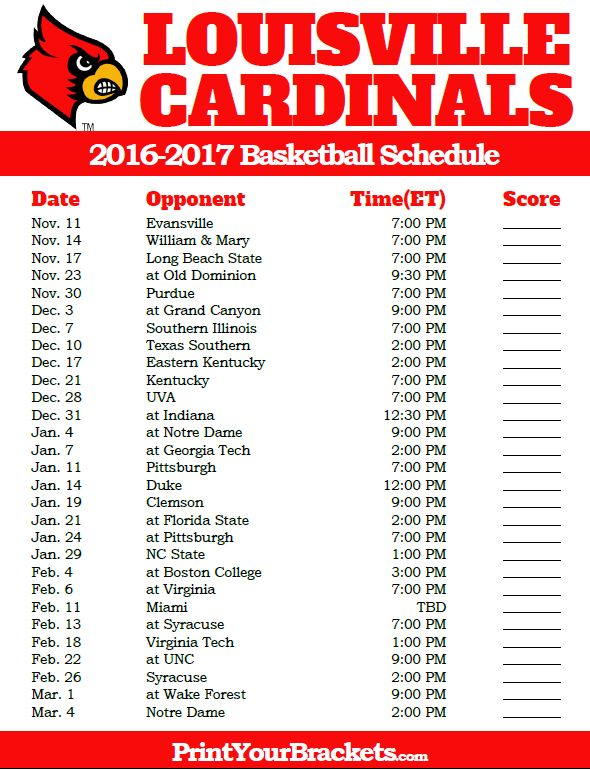 Louisville Cardinals 2016-2017 College Basketball Schedule
