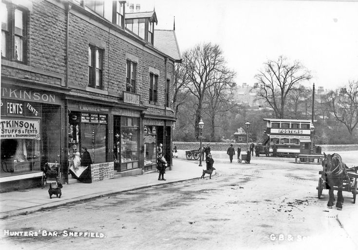 Hunter's Bar, Ecclesall Road, from Junction Road, No 77, Mrs Frances Eliza Atkinson, Fent Dealer, No79, Thomas Morren, Newsagent, No 81, William Weddle, Plumber, No 83, Fred Rutter, Boot Maker