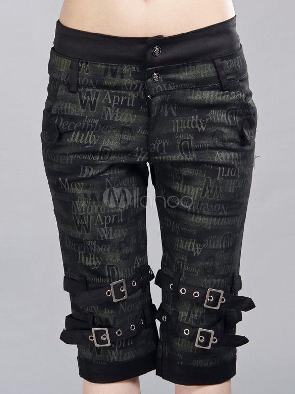 Hippies Black Cotton Blend Lolita Pants