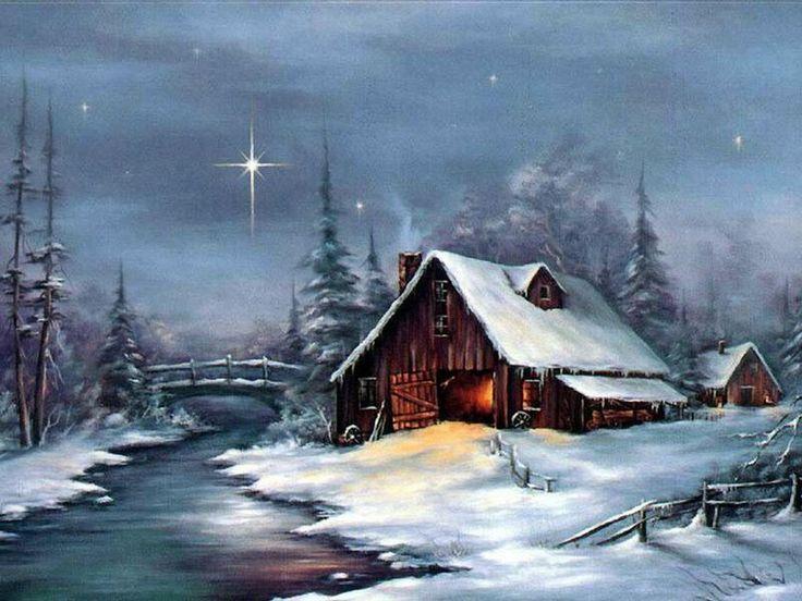 old cabin winter scene wallpaper -#main