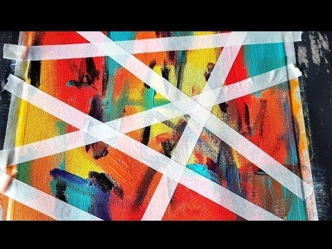 Simple and colorful abstract painting / Using acrylic and masking tape / Demonstration – YouTube
