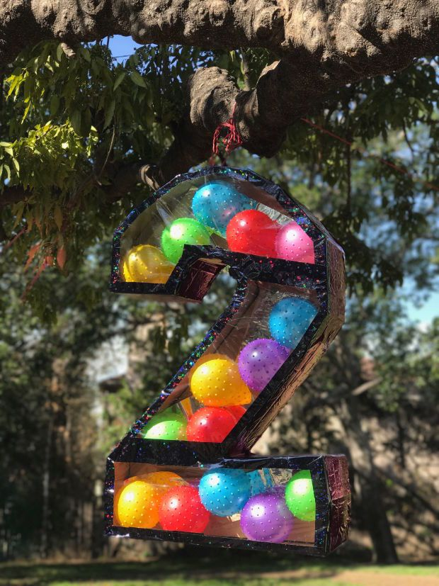 2 year birthday party pinata w/ bouncy balls