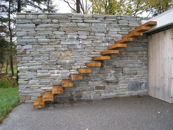 Custom Floating Wooden Outdoor Patio Stairs