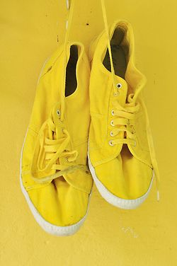 """Lucky I'm lucky in my yellow shoes."" Lyric from the song 'Yellow Shoes' by #GracieSchram #IAmMe #DoYourLaundry"