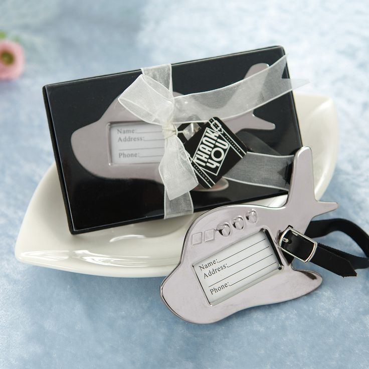 Luggage Tags Wedding Favors: Airplane Luggage Tag Wedding Place Card Holder Favor