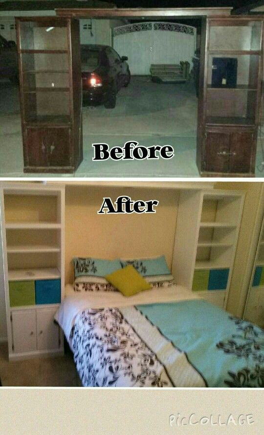 Repurposed old tv entertainment center to bed with storage. must have for kids, teens tweens